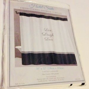 Live Love Laugh Embroidered Shower Curtain